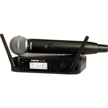 Shure GLXD24/B58A Digital Wireless Handheld Microphone System with Beta 58A Capsule (2.4 GHz)