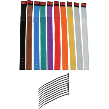 """Pearstone 1 x 14"""" Touch Fastener Cable Straps (Multi-Colored, 10-Pack)"""