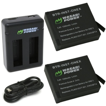 Wasabi Power Battery (2-pack) And Dual USB Charger For Insta360 One X