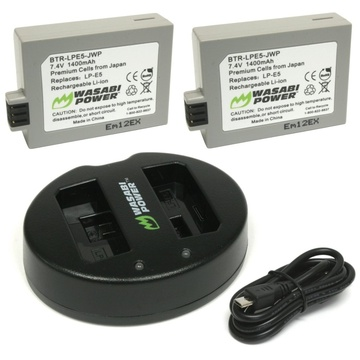 Wasabi Power Battery (2-pack) and Dual Charger for Canon LP-E5