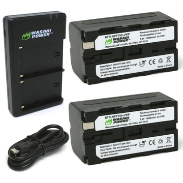 Wasabi Power Battery (2-pack) and Dual Charger for Sony NP-F730, NP-F750, NP-F760, NP-F770(L SERIES)