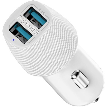 PROMATE VolTrip-Duo 3.4A Car Charger with Dual USB Ports (White)