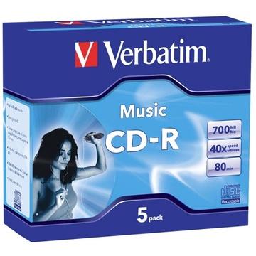 Verbatim CD-R Audio (40x) 5 Pack Jewel Cases