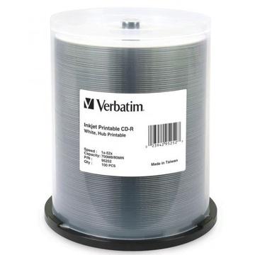 Verbatim CD-R 52x White Printable 100 Pack on Spindle