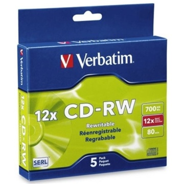 Verbatim CD-RW 700MB 4-12x 5 Pack with Slim Cases
