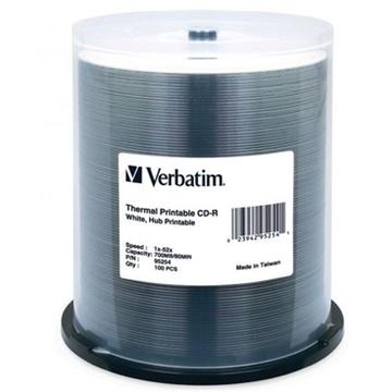 Verbatim CD-R 700MB 52x White Thermal Printable 100 Pack on Spindle