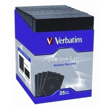 Verbatim DVD Black 25 Pack Slim DVD Cases