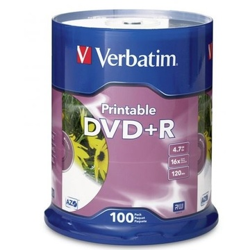 Verbatim DVDR 4.7GB 16x White Printable 100 Pack on Spindle