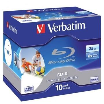 Verbatim BD-R 25GB 6x White Wide Printable 10 Pack with Jewel Cases