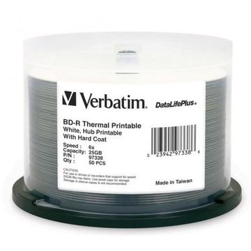 Verbatim BD-R 25GB 6x White Wide Thermal Printable 50 Pack on Spindle