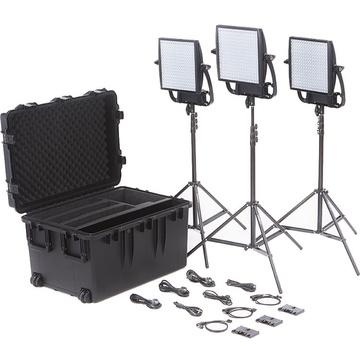 Litepanels Astra 6X Traveler Bi-Colour Trio 3-Light Kit with Gold Mount Battery Brackets