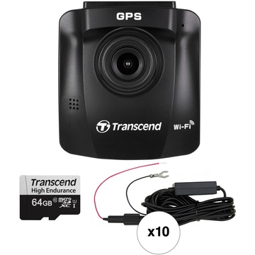 Transcend DrivePro 230 1080p Dash Camera with Hardwire Power Cable & 64GB microSD Card (10-Pack)