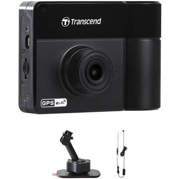 Transcend DrivePro 550 Dual Lens Dash Camera with 64GB microSD Card, Adhesive Mount & Power Cable
