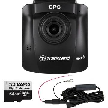 Transcend DrivePro 230 1080p Dash Camera with Micro-USB Hardwire Power Cable & 64GB microSD Card
