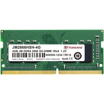 Transcend 4GB JetRam DDR4 2666 MHz CL19 SO-DIMM Memory Module (512Mx8 Chip)