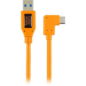 Tether Tools TetherPro USB 3.0 Type-A to C Right Angle Adapter Cable (Orange, 50cm)