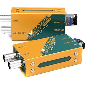 AV Matrix 12G-SDI Fibre Optic Extender Transmitter/Receiver Set