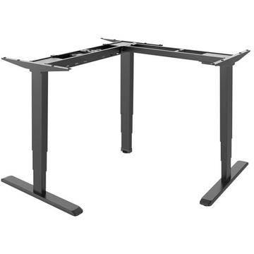 Brateck L-Shape Electric Sit-Stand Desk Frame with Triple Motors (Black)