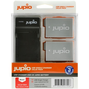 Jupio Pair of LP-E8 Batteries and USB Single Charger Value Pack