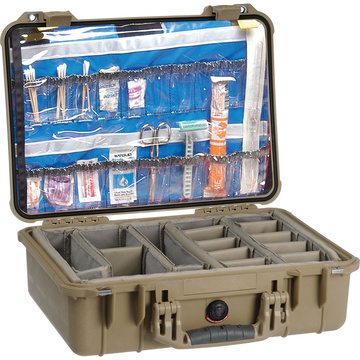 Pelican 1500EMS Case with Dividers (Desert Tan)