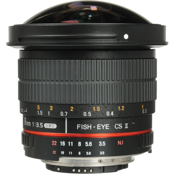 Samyang 8mm f/3.5 HD Fisheye Lens with Removable Hood (Nikon)