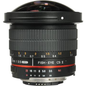 Samyang 8mm f/3.5 HD Fisheye Lens with Removable Hood (Nikon)