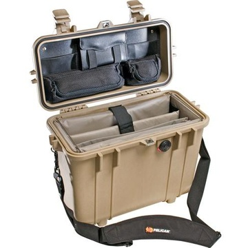 Pelican 1437 Top Loader Case with Office Dividers (Desert Tan)