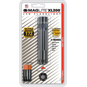 Maglite XL200 LED Flashlight with 3 AAA Blister Pack (Gray)