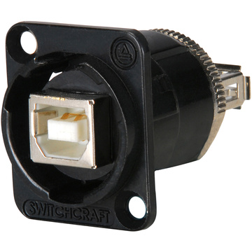 Switchcraft EH Series USB B Female to USBA Female Connector (Black Chrome Finish)