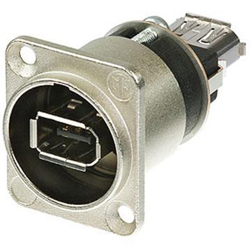 Neutrik FireWire 6 Feed-Through Adapter in D-Shape Nickel Housing