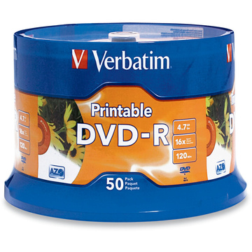 graphic about Verbatim Printable Dvd R identify Verbatim DVD-R 4.7GB 16X White Inkjet Printable 50-pack Spindle