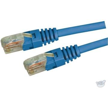 DYNAMIX Cat5E UTP Slimline Patch Lead with Latch Down Plug (Blue, 0.3 m)