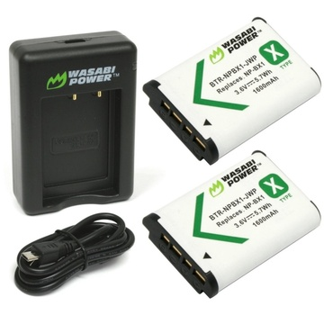 Wasabi Power Battery and Dual USB Charger for Sony NP-BX1 (2-Pack)