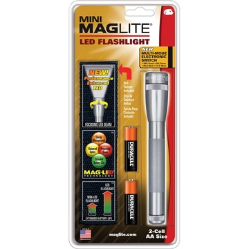 Maglite Mini Maglite 2AA LED Flashlight with Holster (Gray, Clamshell)