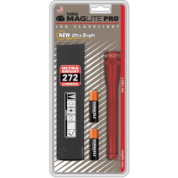 Maglite Mini Maglite Pro 2AA LED Flashlight with Holster (Red)