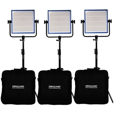Dracast LED1000 Pro Bi-Color LED 3-Light Kit with V-Mount Battery Plates and Stands