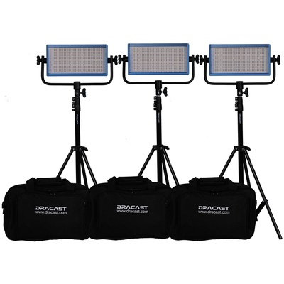 Dracast LED500 Pro Bi-Color LED 3-Light Kit with V-Mount Battery Plates and Stands