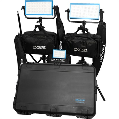 Dracast Bi-Color Wedding Kit with 1x LED160AB and 2x LED500B Pro Lights with V-Mount Battery Plates