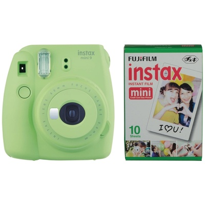 Fujifilm instax mini 9 Instant Film Camera with Instant Film Kit (Lime Green, 10 Exposures)