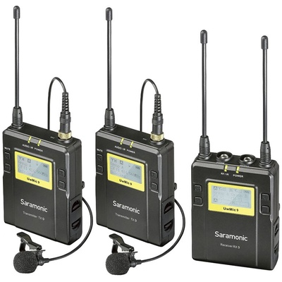 Saramonic UWMIC9 Dual Digital UHF Wireless 2x Transmitters and 1x Receiver Lavalier Mic System