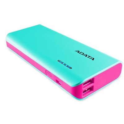 ADATA PT100 Power Bank with Flashlight (Aqua/Pink, 10000mAh)