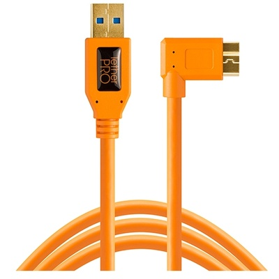 Tether Tools TetherPro USB 3.0 Type-A Male to Micro-USB Right-Angle Male Cable 4.6m (Orange)