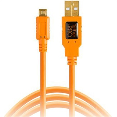 Tether Tools TetherPro USB 2.0 Type-A Male to USB Micro-B 5-Pin Cable 4.6m (Orange)
