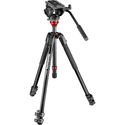 Manfrotto 500 Fluid Video Head with 190X Video Aluminum Tripod & Leveling Column Kit
