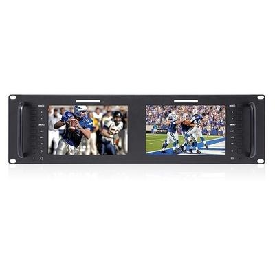 "FeelWorld Dual 7"" 3RU IPS 1280x800 Broadcast LCD Rack Mount Monitor"