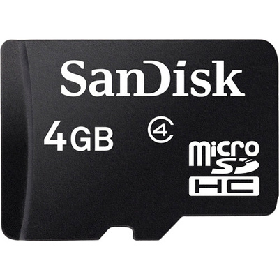 SanDisk microSDHC 4GB Memory Card with SD Adapter