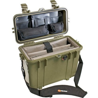 Pelican 1437 Top Loader Case with Office Dividers (Olive Drab Green)