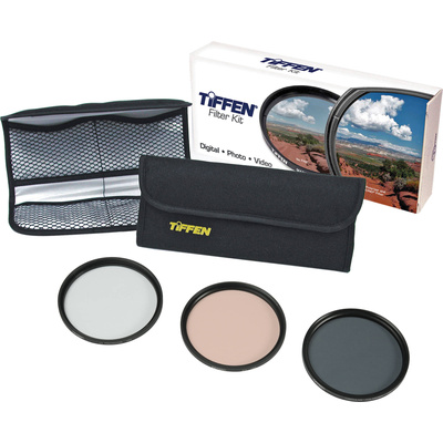 Tiffen 77mm Photo Essentials Kit (UV Protector, Color Warming, Polarizing Glass Filters & Pouch)
