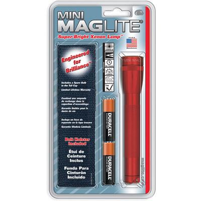 Maglite Mini Maglite 2-Cell AA Flashlight with Holster (Red)