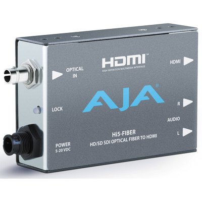 AJA HI5FIBER HD/SD-SDI Over Fiber To HDMI Video and Audio Mini-Converter